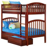 Atlantic Richland Walnut Twin-over-twin Bunk Bed with Raised Panel Bed Drawers