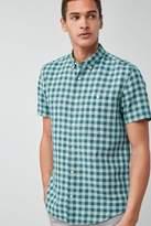 Mens Next Mint Short Sleeve Linen Blend Check Shirt