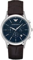 Emporio Armani Men's Automatic Chronograph Renato Dark Brown Leather Strap Watch 43mm AR2494