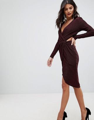 Morgan Cross Front Cut Out Detail Mini Dress-Red