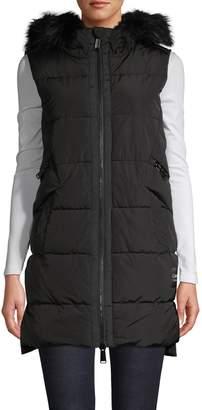 Calvin Klein Faux Fur-Trim Quilted Hooded Vest