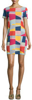 Tory Burch Kimberly Short-Sleeve Patchwork Dress, Red Canyon Colors