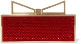 Sara Battaglia Lady Me Red Carpet crystal-embellished satin clutch