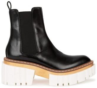 Stella McCartney Emilie 75 black leather platform Chelsea boots
