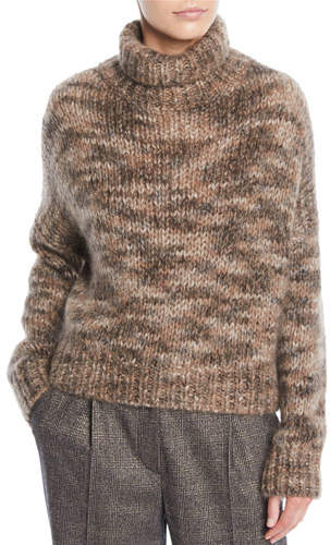 Brunello Cucinelli Melange Mohair-Cashmere Turtleneck Sweater