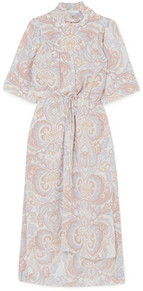 See by Chloe Gathered Printed Silk Crepe De Chine Midi Dress