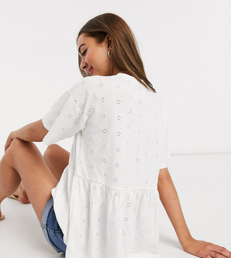 Asos DESIGN Petite smock top in all over broidery