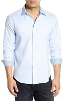 Bugatchi Shaped Fit Solid Check Weave Sport Shirt (Tall)