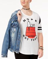 Hybrid Trendy Plus Size Cotton Snoopy Graphic T-Shirt