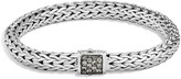 John Hardy Sterling Silver Classic Chain Medium Bracelet with Mixed Grey Sapphire