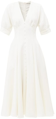 Emilia Wickstead Bria Flared Wool-crepe Midi Dress - Womens - Ivory