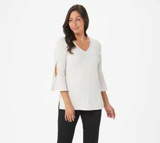 Susan Graver Liquid Knit 3/4-Sleeve Top with Ring Detail