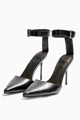 Topshop Womens Glide Black Ankle Strap Shoes - Black