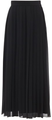 The Row Magda Pleated Georgette Midi Skirt - Black
