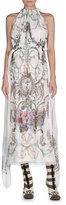 Fendi Blazon-Floral Halter Maxi Dress, White