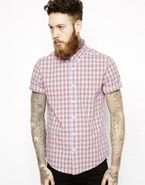 Asos Shirt In Short Sleeve With Light Blue Mini Check
