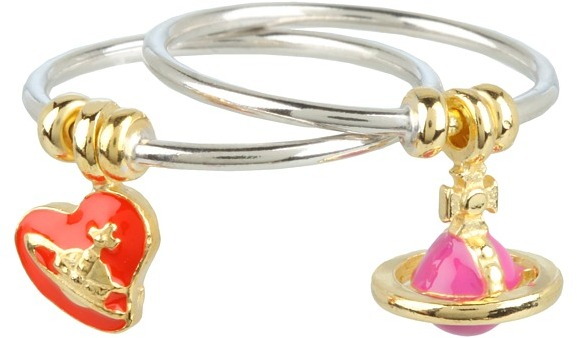 Vivienne Westwood Charm Ring (Sterling Silver/Red & Pink) - Jewelry