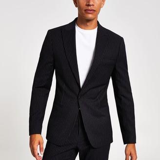 River Island Mens Navy pinstripe skinny suit jacket
