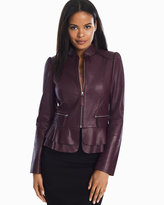 White House Black Market Leather Flounce Jacket