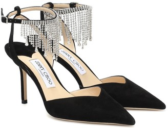 Jimmy Choo Birtie 85 embellished suede pumps