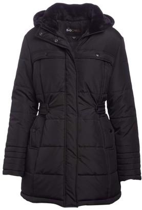 Big Chill Women's Puffer Coats BLACK - Black Side-Belt Hooded Berber Collar Puffer Coat - Women