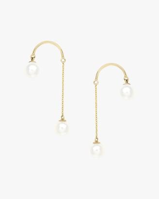 Poppy Finch Crescent Hi-Low Short Pearl Drop Earrings