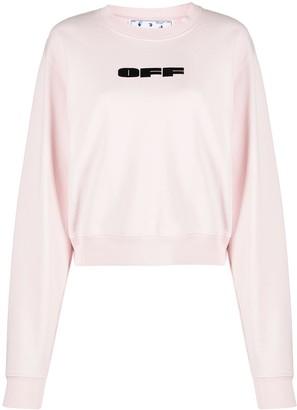 Off-White Flocked Logo Cotton Sweatshirt