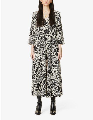 BA&SH Olga animal-print crepe maxi dress