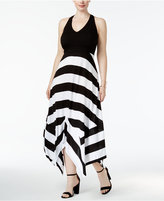 INC International Concepts Plus Size Striped Handkerchief-Hem Maxi Dress, Only at Macy's