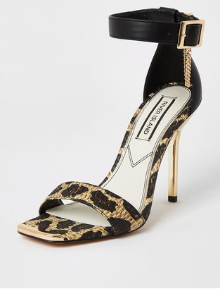 River Island Animal Print Barely There Stiletto Sandal - Light Brown