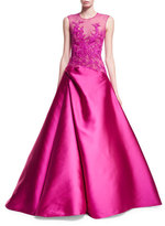 Monique Lhuillier Sleeveless Embroidered Illusion Ball Gown