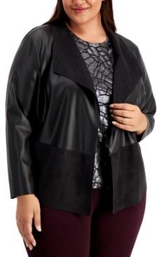 Alfani Plus Size Mixed-Media Jacket, Created for Macy's