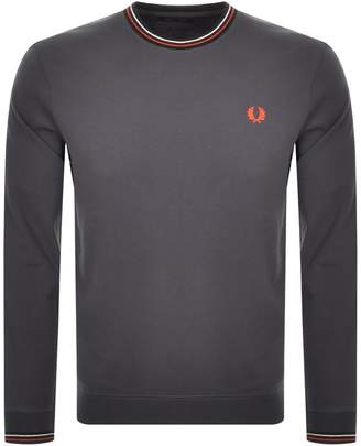Fred Perry Bold Tipped Crew Neck Sweatshirt Grey