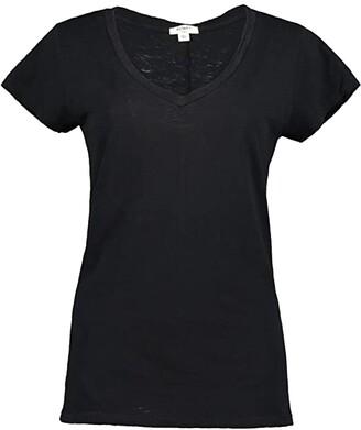 Dylan by True Grit Soft Slub Cotton Classic V-Neck Tee (Black) Women's Clothing