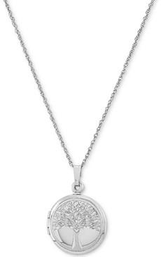"Macy's Single-Frame Tree Locket 18"" Pendant Necklace in Sterling Silver"