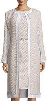 Oscar de la Renta Collarless Paneled Tinsel Tweed Coat, Pink/Gray