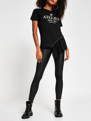 River Island Diamante Asymmetric Frill T-shirt - Black
