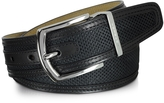 Moreschi St.Barth Black Perforated Nubuck and Leather Belt
