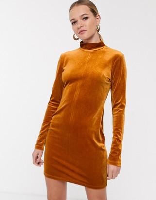 Glamorous high neck bodycon dress in velvet