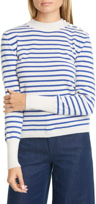 Equipment Clodee Stripe Shoulder Button Cashmere Sweater