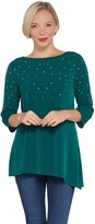 Factory Quacker 3/4-Sleeve Asymmetric Hem Knit Top with Rhinestones