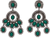 One Kings Lane Vintage Vrba Emerald Rhinestone Drop Earrings