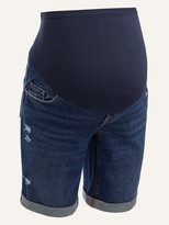 Thumbnail for your product : Old Navy Maternity Full Panel Ripped Bermuda Jean Shorts -- 9-inch inseam