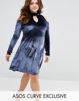 Asos Velvet Cold Shoulder Swing Dress With Key Hole