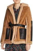 Maje Gulen Real Lamb Shearling Coat