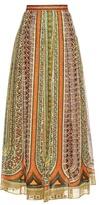Valentino Tribal ribbon-print cotton-muslin maxi skirt
