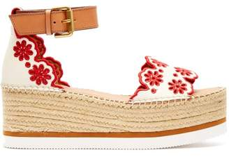See by Chloe Laser-cut Leather Flatform Espadrilles - Womens - Red White