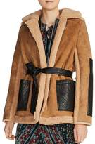 Maje Gulen Real Lamb Shearling Coat
