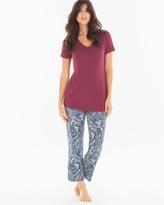 Soma Intimates Ankle Pants Pajama Set Paisley Poise Marsala