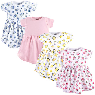 Luvable Friends Girls' Casual Dresses Floral - White & Pink Floral Short-Sleeve Dress - Set Of Four